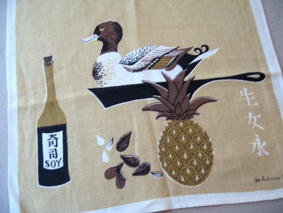 DeAntonio duck. Vtg 1950s kitchen towel, never used, great condition.
