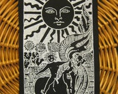 The Sun Tarot Card handmade screen printed patch, white on black