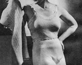 Vintage 1930s Knitting Pattern Underwear Short and Full Length Vest and Panties PDF