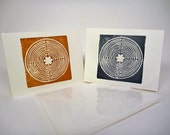 Hand Stamped Chartres Labyrinth Notecards - Set of 4