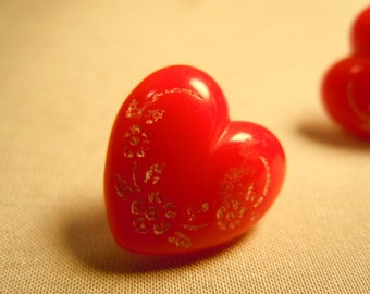 Red Heart Buttons and Six Round Ones
