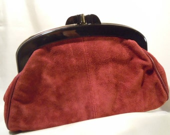 Vintage Clutch Reddish Brown Suede Women's Accessory