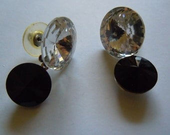 Large Crystal Earrings Prom Accessory Vintage Jewelry Bling