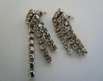 Rhinestone Earrings Prom Accessory Vintage Jewelry