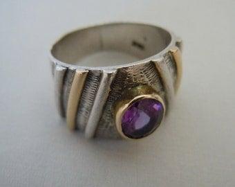 Vintage Sterling Amethyst 18K Ring