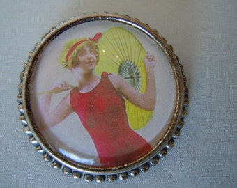 Vintage Swim Suit Brooch Bathing Beauty