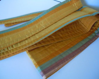 Vintage Headband Belt Yellow Striped Silk Women's Accessory