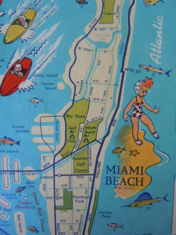Gulf Florida Info-Map 1940s Road Map