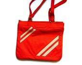 Tomato Red 1970s Canvas Tote with Track Suit Stripes and AMAZING Pocket System