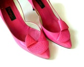 Sz 8 Vintage 80s Honeysuckle Pink Pumps with Folded Leather Detail (size 8)