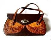 Vintage 1960s Big Tooled Leather Purse