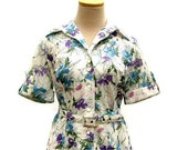 1950s Day Dress in Floral Pointelle Knit (size medium)