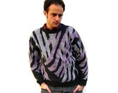 MENs 1980s Sweater with Abstract Zebra Stripes (Size Medium)