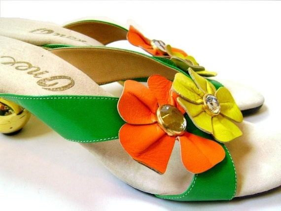 ONEX 1970s Colorful Sandals with Spherical Heels, Leather Flowers and Rhinestones (Size 7 or 7.5)