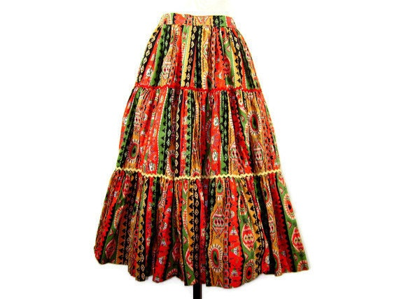 1950s Full Tiered Circle Skirt with Native American / Southwestern Inspired Novelty Print Fabric