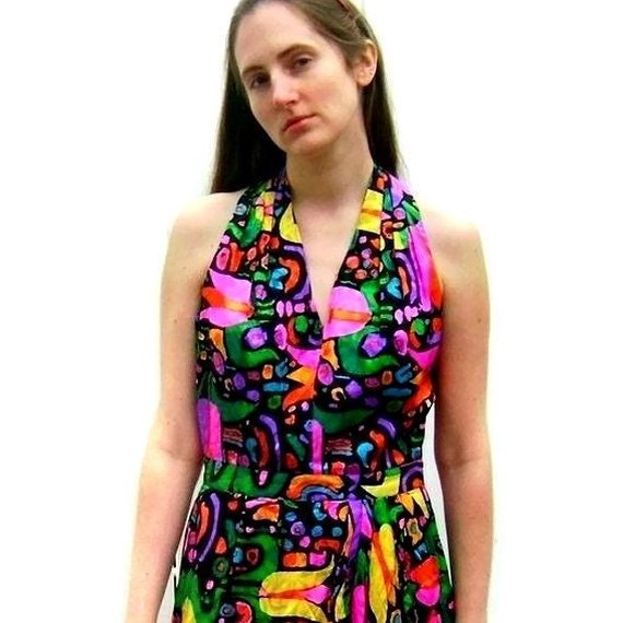 1980s Real Silk Halter Dress with Brightly Colored Flowers (Medium - Large)