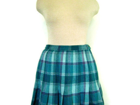 PENDLETON 1970s Plaid Wool Skirt in Turquoise, Teal and Purple