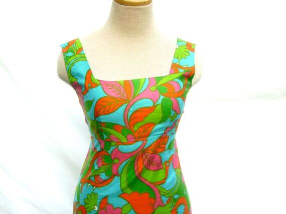 1970s Mini Dress -Tropical Floral Sundress Wiggle Dress