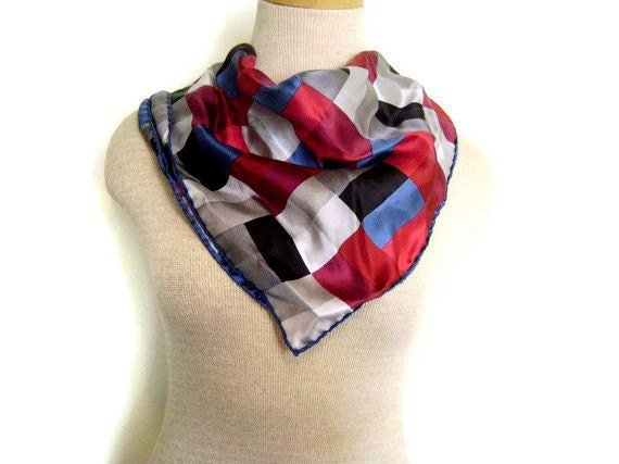1980s Geometric Silk Scarf with Rectangles in Muted Colors