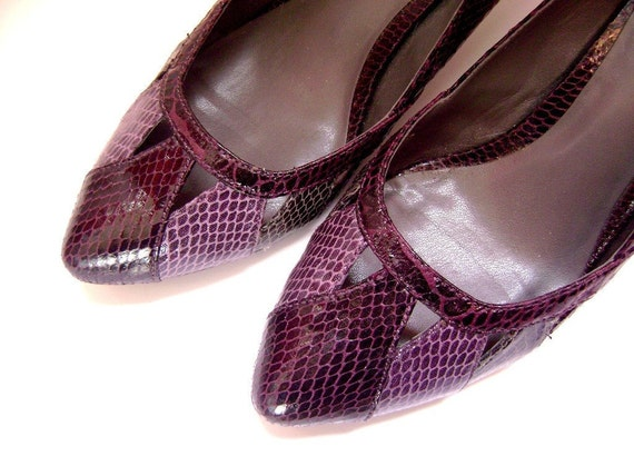 1980s Purple Snakeskin Heels with cutout details (size 6)