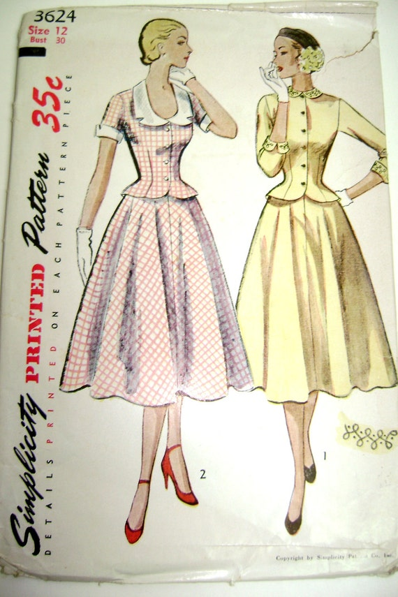 SIMPLICITY 3624 1940s-1950s Vintage Sewing Dress Pattern, Skirt and Peplum Blouse (size 12, Bust 30)