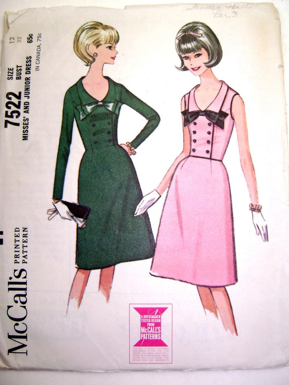 McCall's 7522 1960s Dress Pattern with Double Breasted Button and Bow Trimmed Bodice, Short Flared Skirt (Size 12, Bust 32)