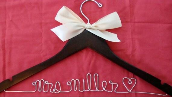 Personalized Custom Bridal Hanger, Brides Hanger, Bride, Name Hanger, Wedding Hanger/ choose from 19 ribbon colors