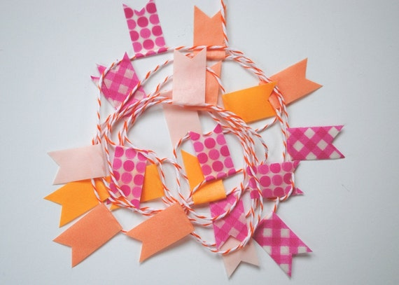 Pink & orange washi garland - 2 metres