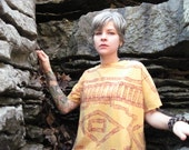 GOLD FOR LUNA gold yellow block print t shirt mexican poncho print style summer fashion