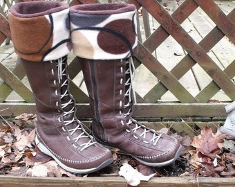 Fleece Rain BOOT LINERS, Earthy tone, Brown solid sock w/Brown Pattern Cuff, Rustic, Cold Rainy, Earth Tones, Sm/Med 6-8 Boot
