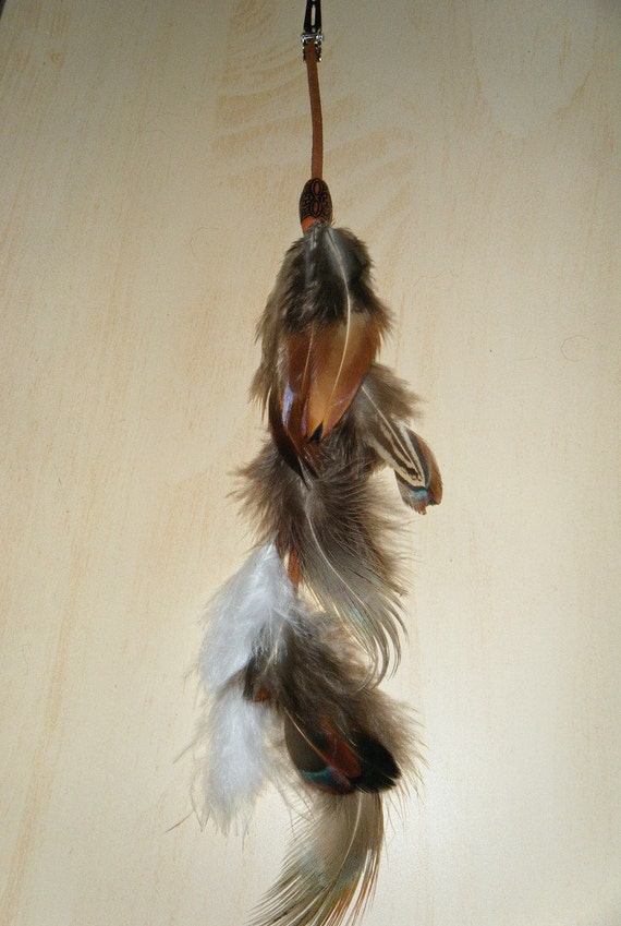 Natural Colored Native American Hair Feather Clip