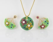 60% Off SUMMER In FULL BLOOM One of a Kind Polymer Clay and Pearls Necklace and Earring Set
