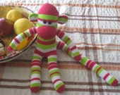 Sock Monkey - Pink, Green, and White