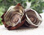 Fabric flower brooch handmade brown beige golden beads mother's day