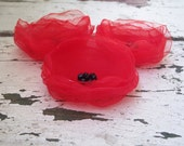 Red Poppies Fabric flowers applique organza, for brooch, hair, corsage fascinator europeanstreetteam