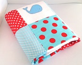 Whale Baby Crib Quilt in red white and aquamarine blue-Made after you order - AlphabetMonkey