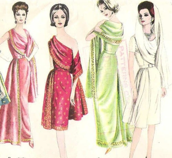 Vintage Early 1960s Stylish VOGUE Sari Dress Sewing Pattern 36 Inch Bust