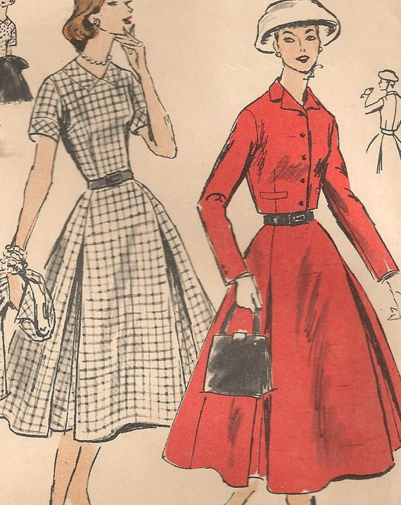 Vintage 1950s VOGUE Sewing Pattern Skirt Suit & Blouse 36 Inch Bust UNUSED