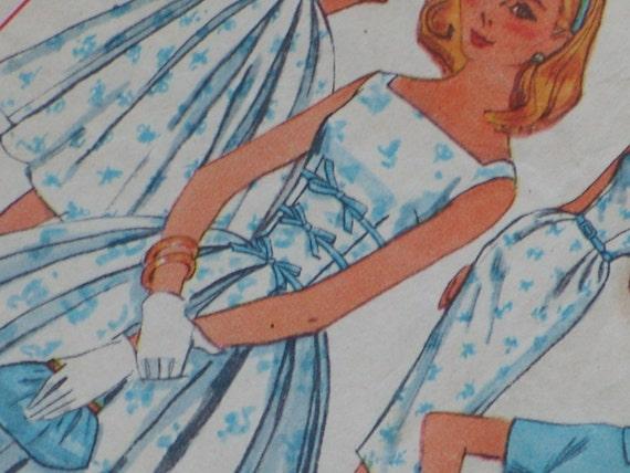 1950s Sewing Pattern - Full or Slim Skirt Sun Dress Cropped Bolero Jacket - S Small 34 Bust