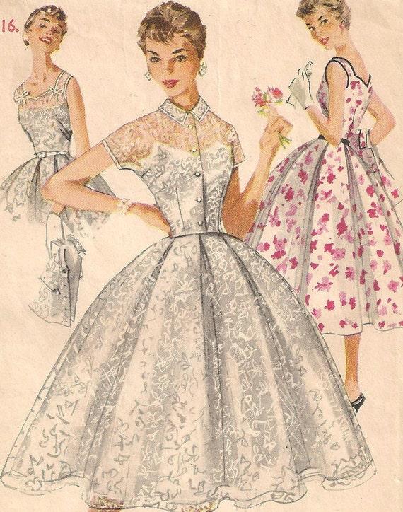 """1950s Dress Pattern - Full Skirt Sleeveless Sun or Day Dress & Bolero 34"""" Bust"""