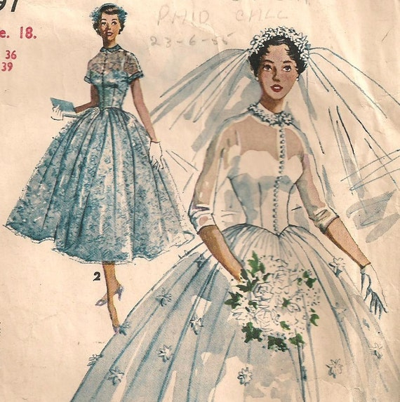 Full Skirt Wedding Gowns: 1950s Dress Pattern Beautiful Full Skirt Wedding Gown Bridal