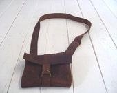 waxed leather pouche/satchel
