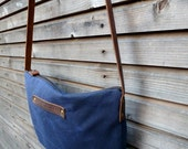 Waxed canvas Day Bag in blue(ink) COLLECTION UNISEX