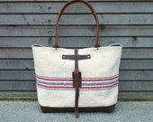 Recycled antique linen and leather bottomed carry all/tote bag UNISEX