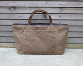 Waxed canvas carry all in brown(oak) with oiled leather handles  COLLECTION UNISEX