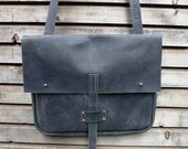Waxed leather pouch/messenger bag/satchel in black with leather strap COLLECTION UNISEX