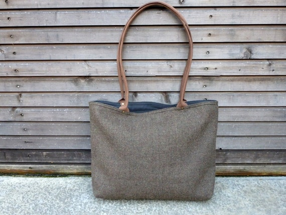 Wool tote bag with waxed leather handles COLLECTION WOMEN