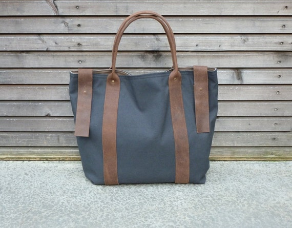 recycled vintage cotton tote bag with leather strap and strap with buckle UNISEX