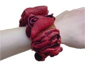 Leather Flower Bracelet - Leather Flower Cuff - SALE Luscious Red - Scarlet & Amber Leather Infinity Bracelet Cuff - Goatskin leather - rare