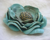 Antiqued Flower Pin or Boutonniere Unique Accessories 2 1/4 inch Seafoam Blue Leather Flower Brooch
